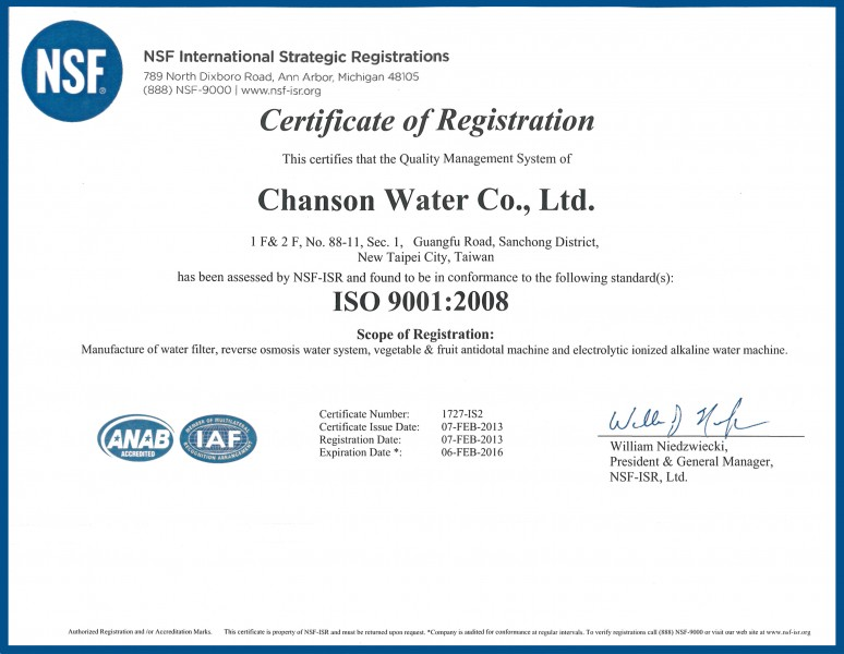 Chanson Water USA ISO 9001 Certificate of Registration
